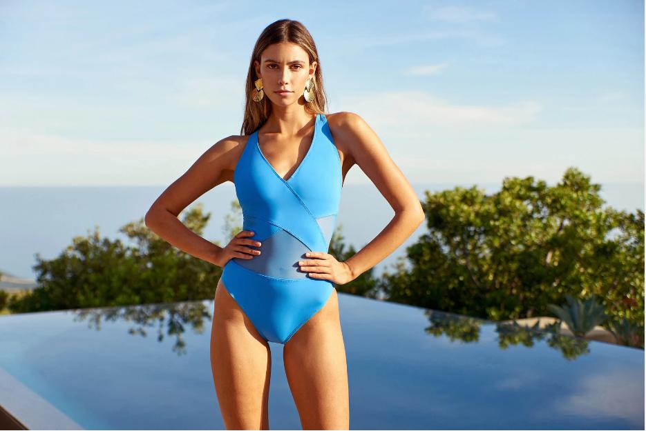 Model in Aruba Blue One-Piece by Bleu Rod Beattie