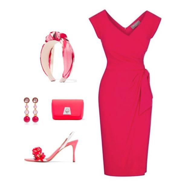 Bombshell Bright Pink Cap Sleeve Confident