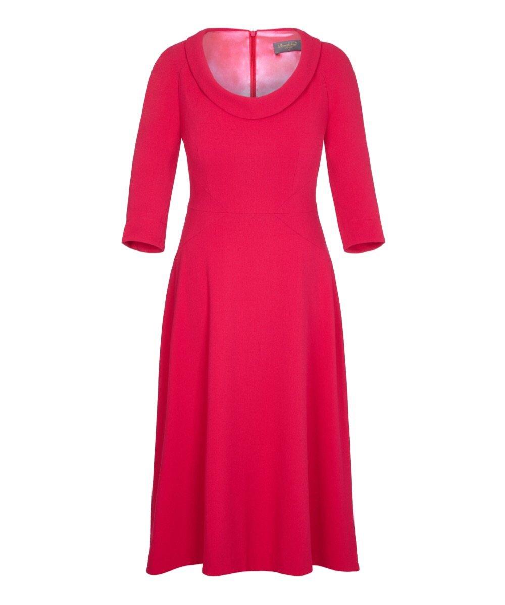 Bombshell Scoop Neck Elliptical Midi Skirt Dress Pink