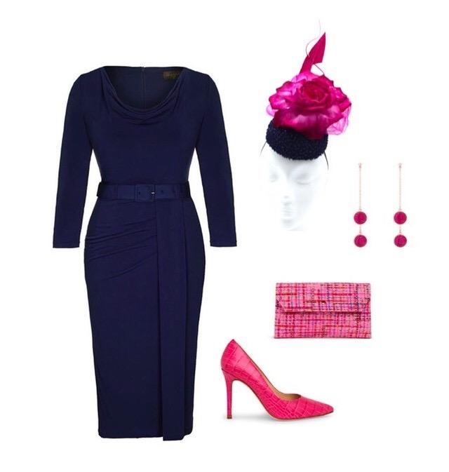 Navy Bombshell 'Stretch Luxe' Scoop Neck 3/4 Sleeve Jersey Dress