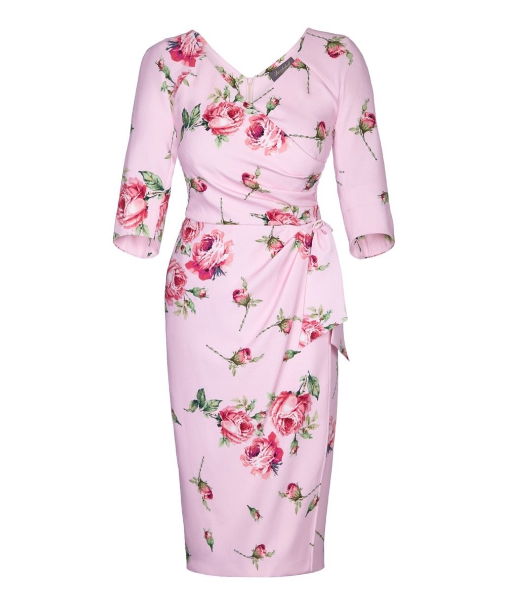 Kensington Roses Pink Bombshell 3/4 Sleeve Dress