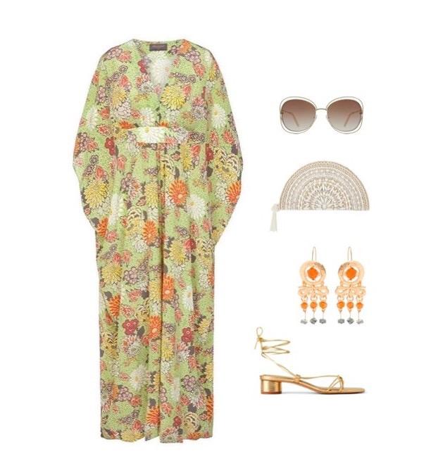 Bombshell Liberty Silk Kaftan Dress in Meandering Chrysanthemum Print