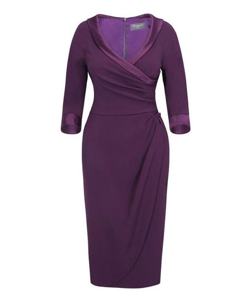 Invitation Damson Pencil Sarong Dress