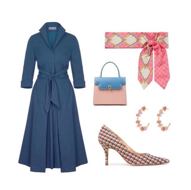 Heron Blue Grace Tie Front Shirt Dress