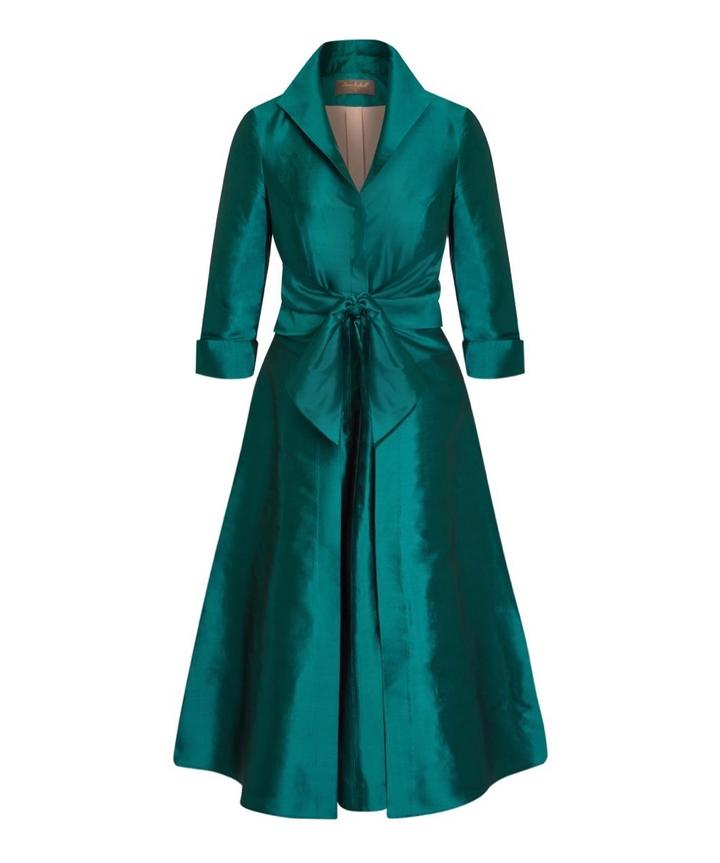 Silk Dupion Emerald Green Grace Tie Front Shirt Dress