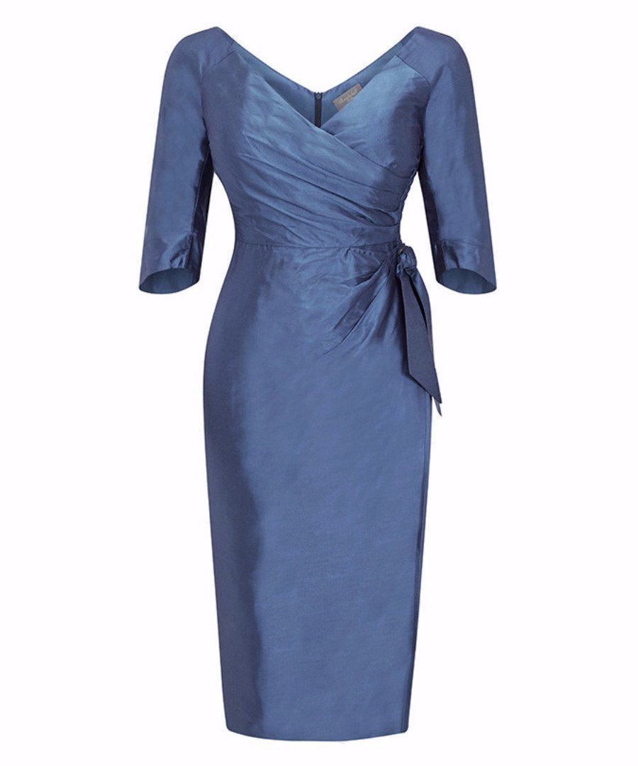 Bombshell Shot Silk Dupion Heron Blue Dress