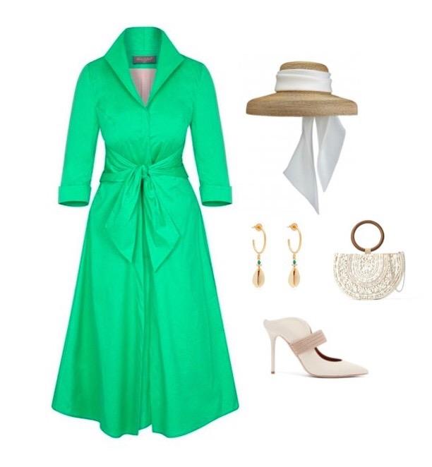 Leaf Green Grace Tie Front Shirt Dress