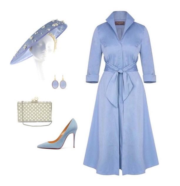 Powder Blue Grace Tie Front Shirt Dress