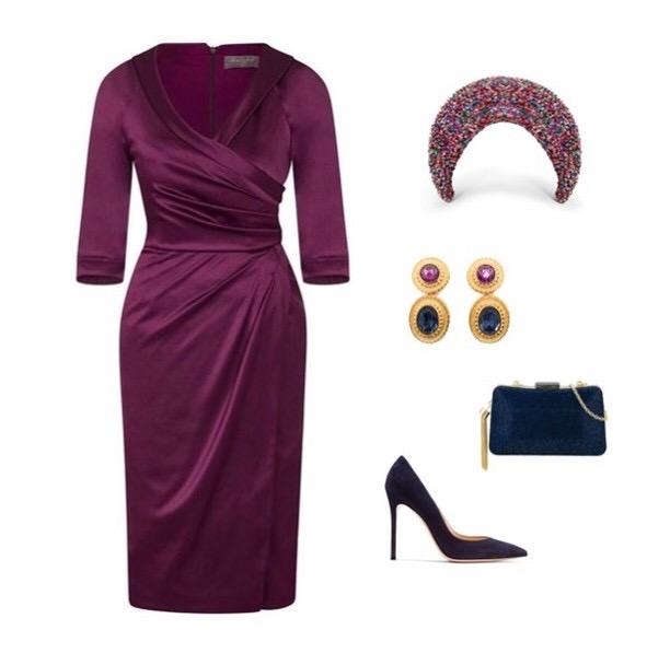 Invitation Damson Collar Sarong Dress