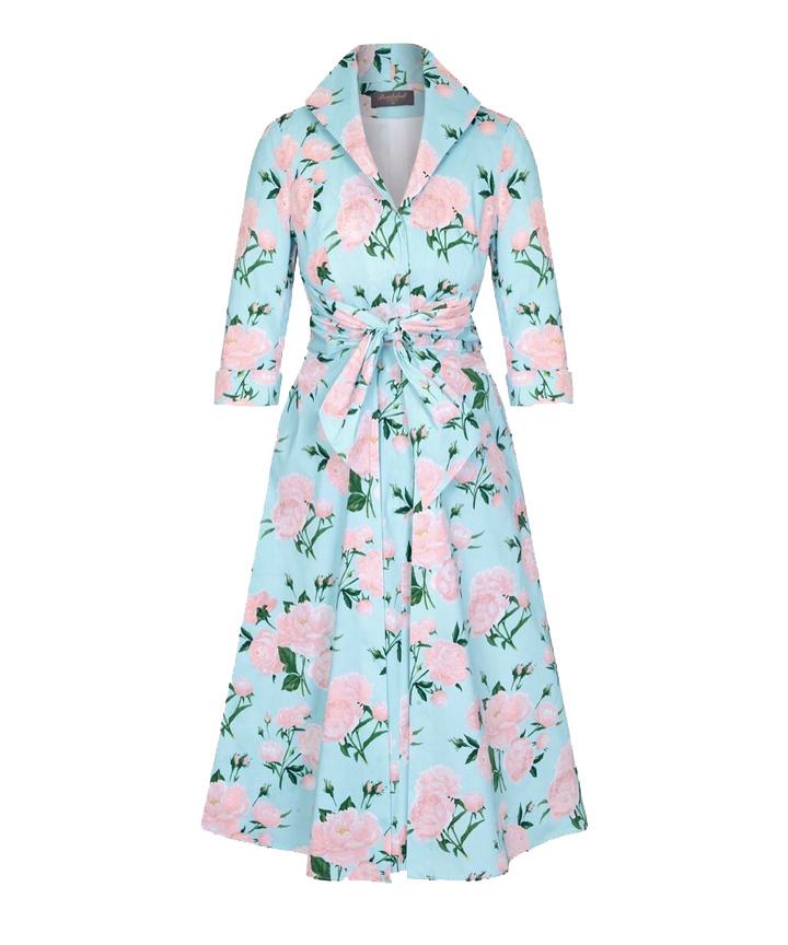 Aqua Peony Grace Tie Front Shirt Dress