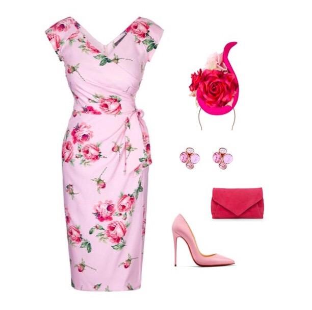 Kensington Roses Pink Confident Bombshell Cap Sleeve Dress