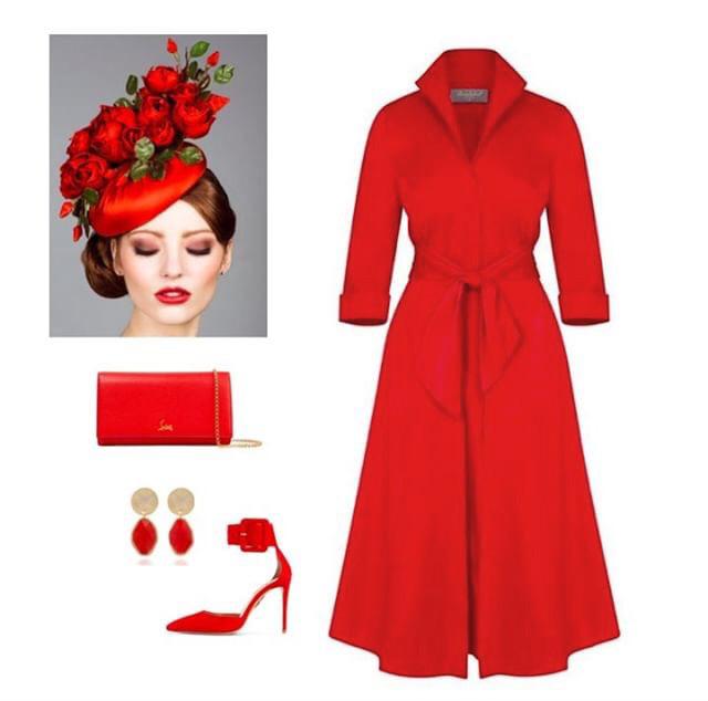Red Grace Tie Front Shirt Dress