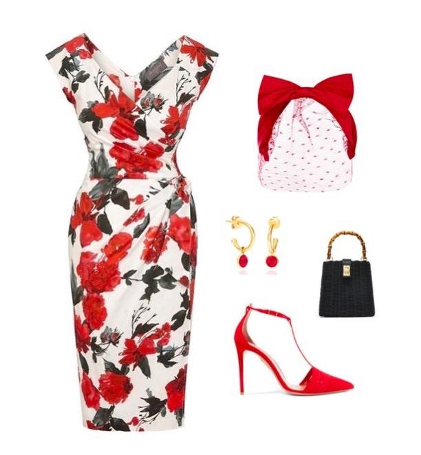 Cotswolds Roses Confident Bombshell Cap Sleeve Dress