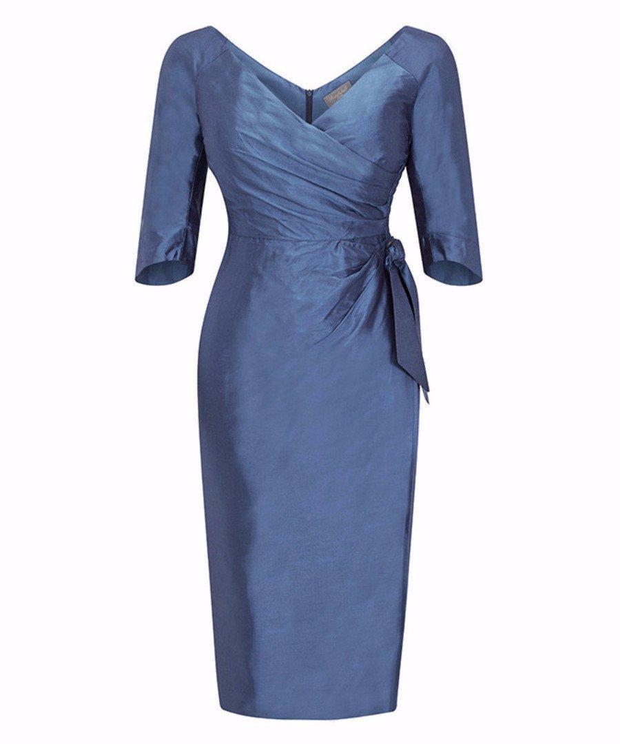 Bombshell Silk Dupion Heron Blue Dress