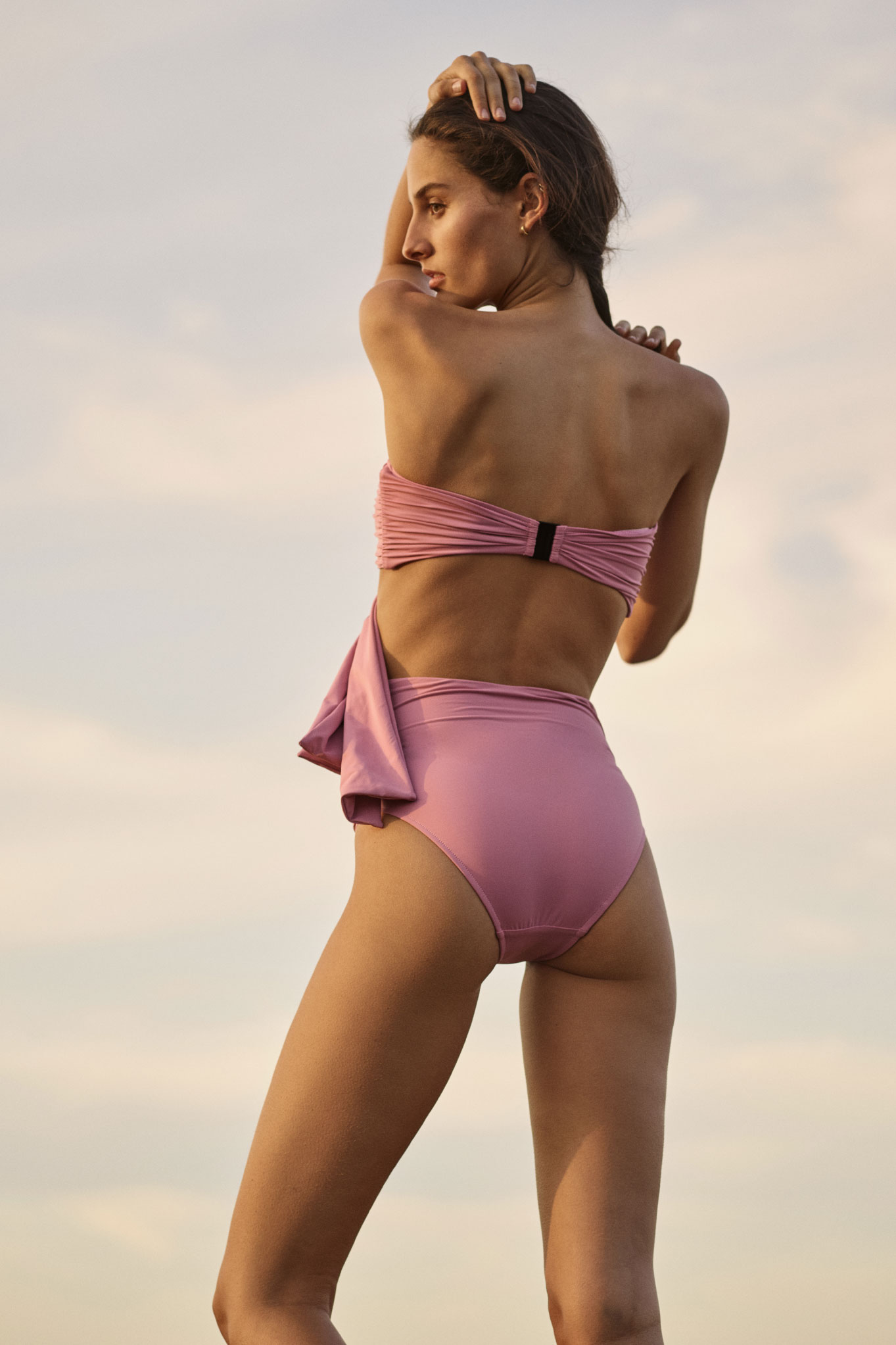 BONDI BORN's Knots Collection in Black and Pink features the Neve Bikini top and Penelope Bottom with over sized knots.