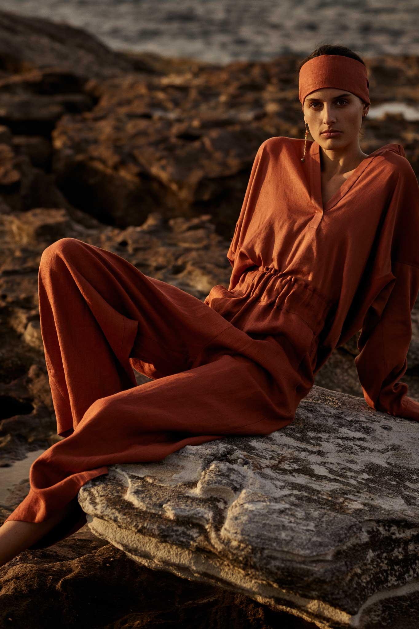 BONDI BORN Resort Wear featuring luxury Japanese Linen Pants in rust.