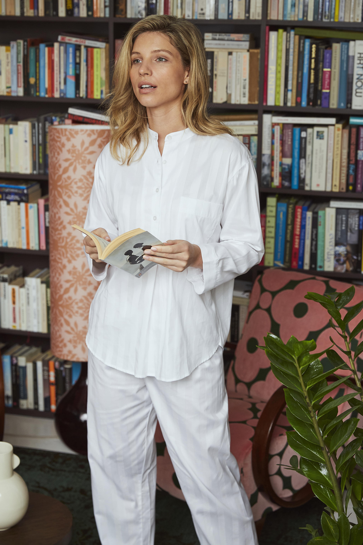 Women's White Pyjamas Classic Satin Stripe