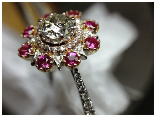 Custom Gold Ring Set with Pink Sapphires