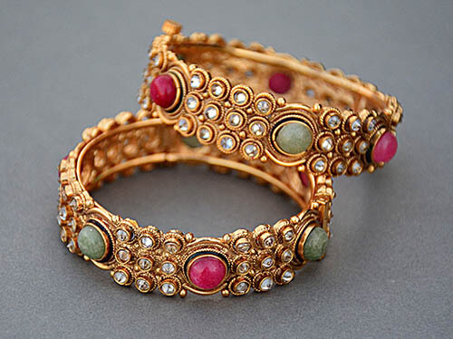 Gold Plated and Vermeil Bangles with Colored Gems and Made of Brass and Silver