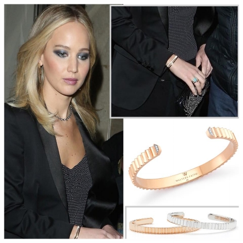 Jennifer Lawrence Wearing Luxury Gold Bangle from Walters Faith