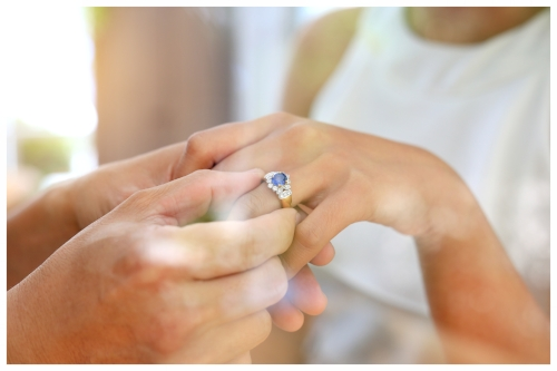 Man Gives Blue Sapphire Ring to His Partner