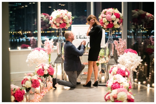 Beautiful Marriage Proposal with Bouquets of Flowers
