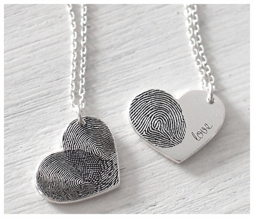 Silver Baby Fingerprint Pendant Necklace for a New Mom
