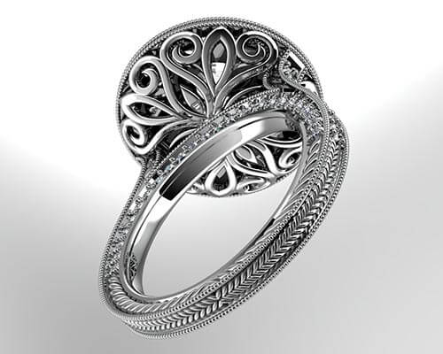 Unique Design of a Gold Custom Engagement Ring