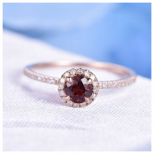 Affordable Deep Red Garnet Wedding Ring
