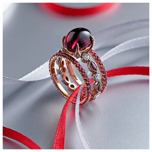Gorgeous Ruby Pave Ring Set