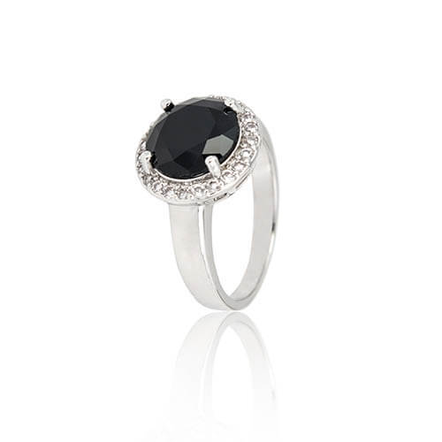 Halo Black Diamond Engagement Ring