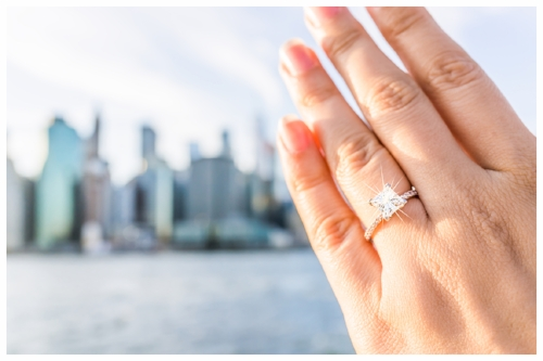 Beautiful Diamond Engagement Ring Sparkling with NYC Skyline