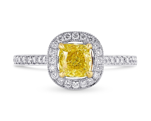 Halo Ring with a Yellow Diamond