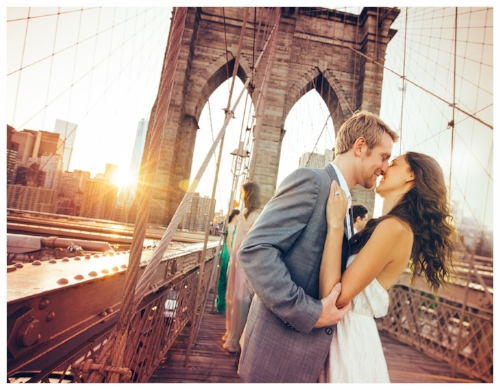 Couple Embracing on the Bridge After a Proposal