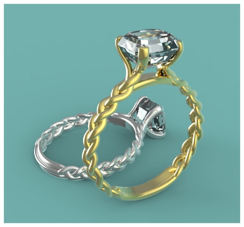 Digital Jewelry Design of 2 Solitaire Diamond Engagement Rings