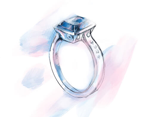 Beautiful Sketch of Blue Sapphire Platinum Ring