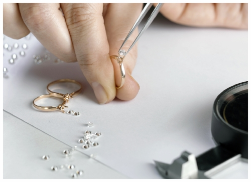 Expert Jeweler Manufacturing a Diamond Custom Engagement Ring