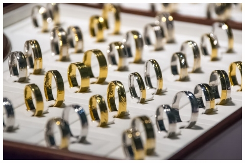 Variety of Wedding Bands Showcased at a Jewelry Store