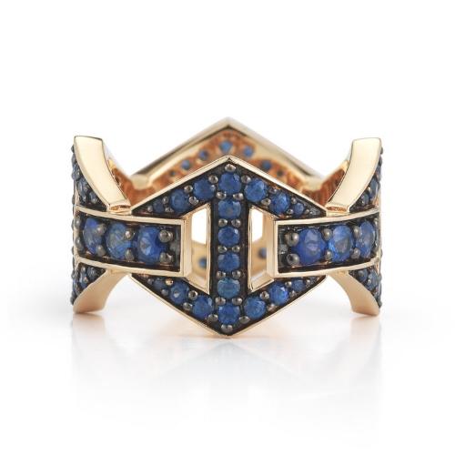 Blue Sapphire Gold Hexagon Ring
