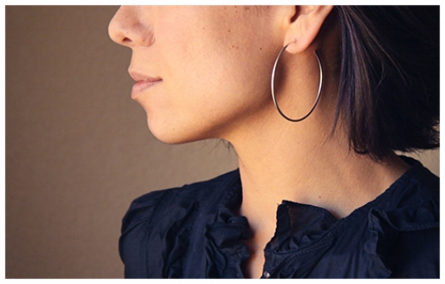 Large Hoop Earrings for a Triangular Face Shape