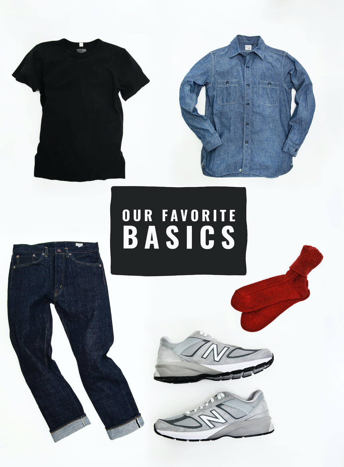 Our Favorite Basics Featuring orSlow chambray work shirt, orslow 107 ivy denim, lady white co t-shirts, anonymous ism socks, and new balance 990s