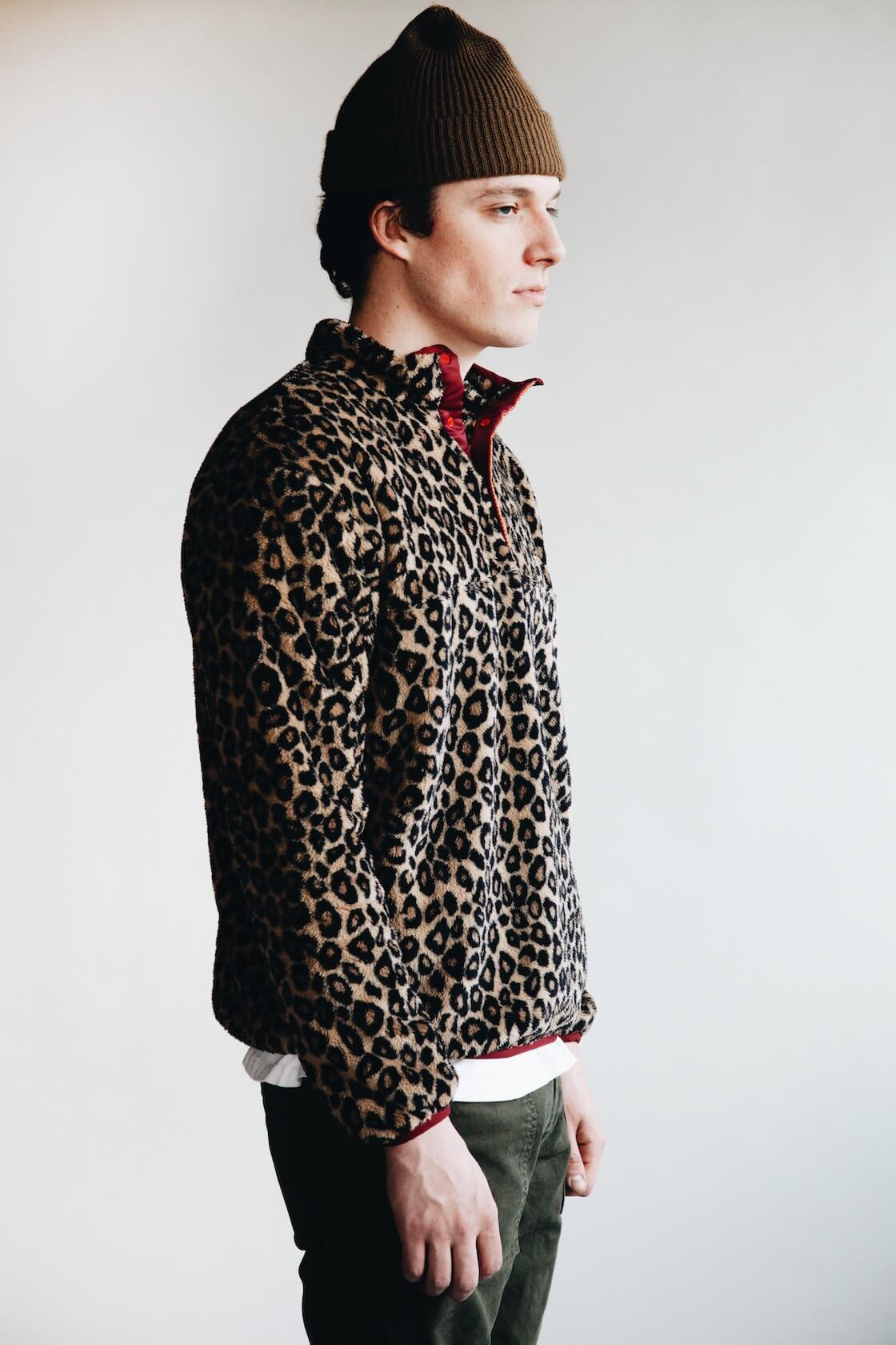 kapital kountry leopard fleece snap pullover and pure blue japan military pants on body
