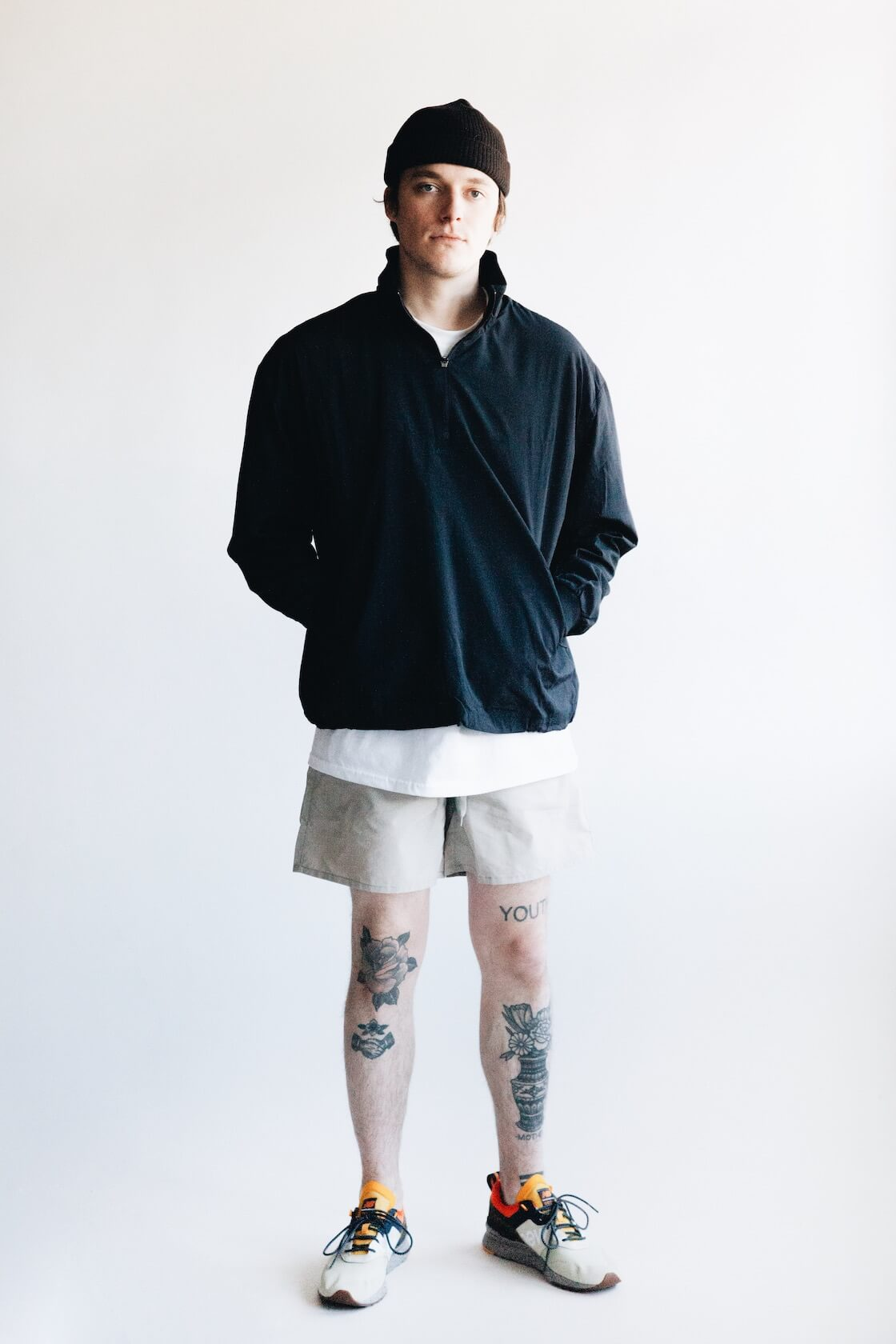 UC Jacket from Adsum, Clark Pocket Tee from Lady White Co., Site Shorts from Adsum and 997H sneakers from New Balance on body