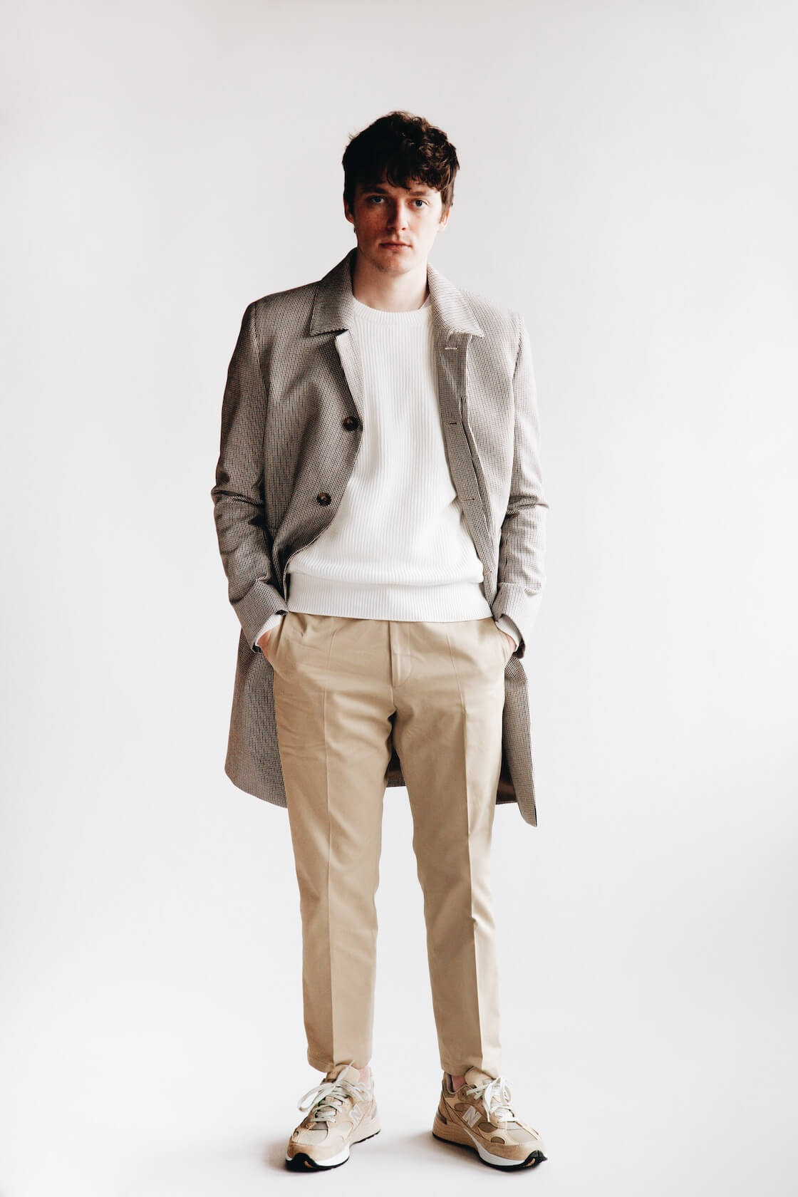 harmony paris maximus coat, wade sweater, patrizio trousers and new balance shoes on body