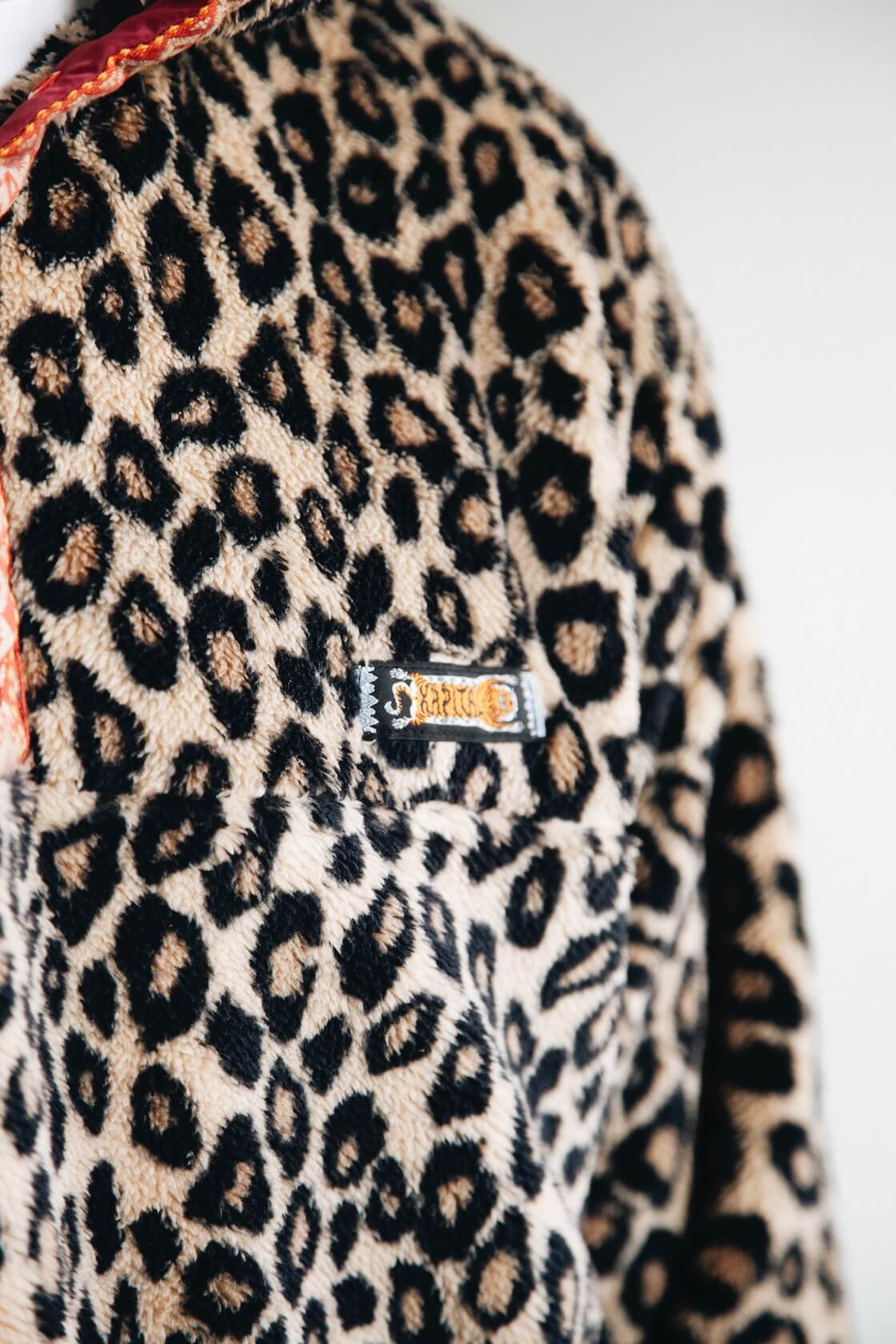 kapital kountry leopard fleece snap pullover on body