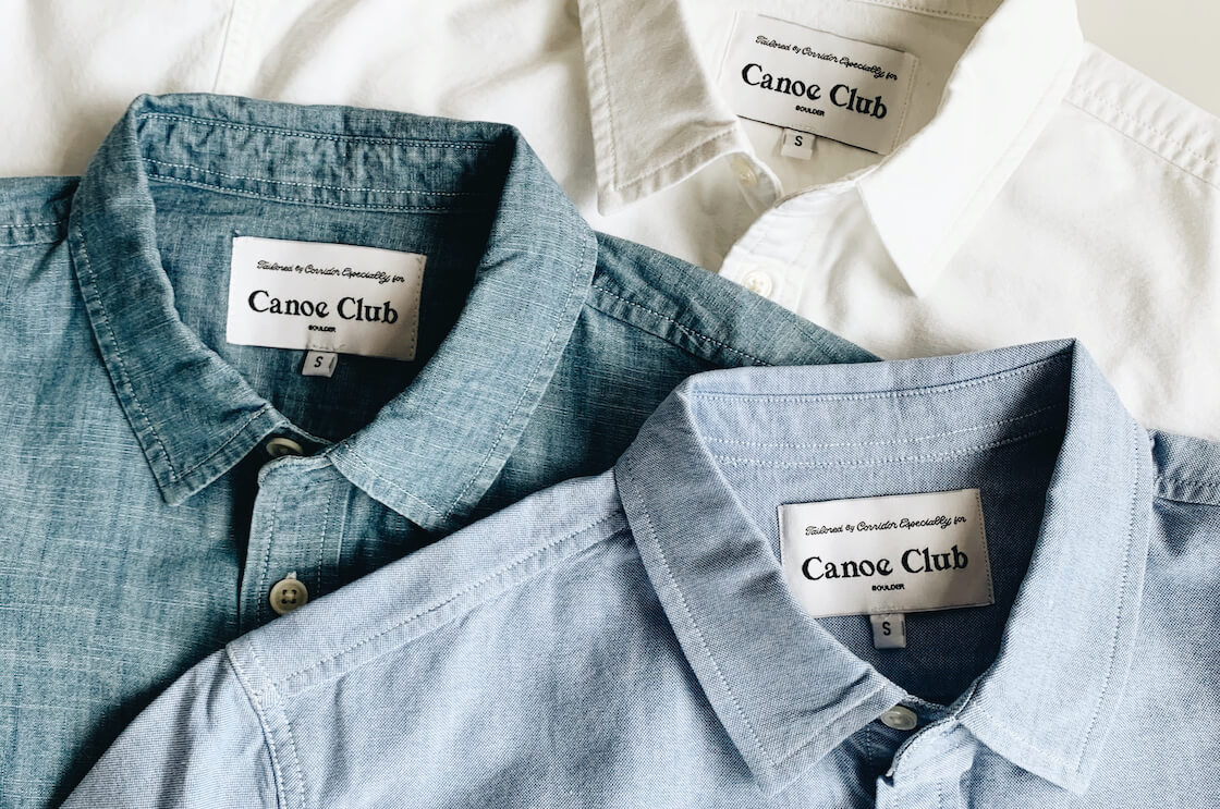 canoe club x corridor exclusive set of shirts - white oxford, blue oxford, and blue chambray shirts