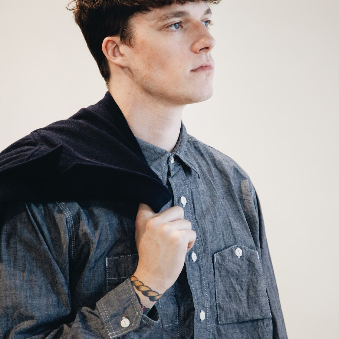 engineered garments new bedford jacket, and work shirt on body