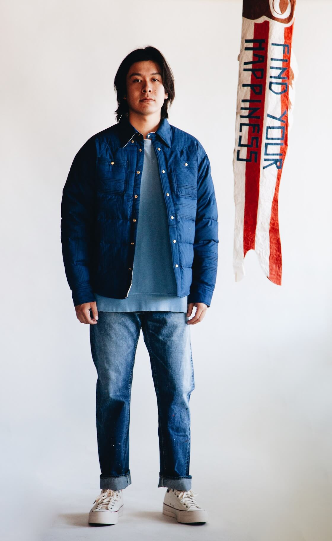 visvim indigo camping trading post find your happiness Kerchief Down Jacket, Jumbo Sweat L/S Crash Sweatshirt, Social Structure Dry Denim and Skagway Lo Canvas Shoes on body