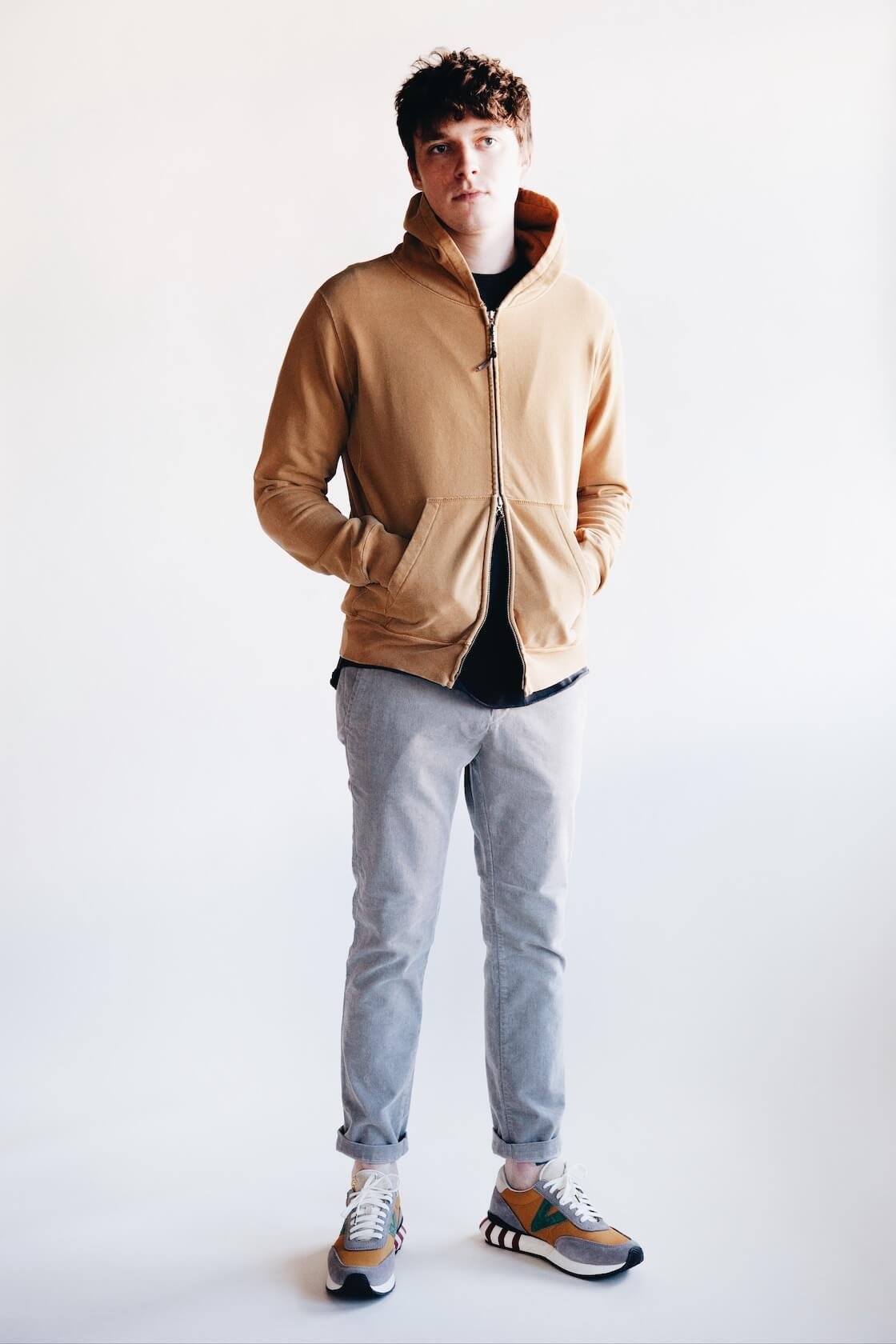 remi relief special finish fleece zipped hoodie, stretched corduroy slacks and visvim attica trainers on body
