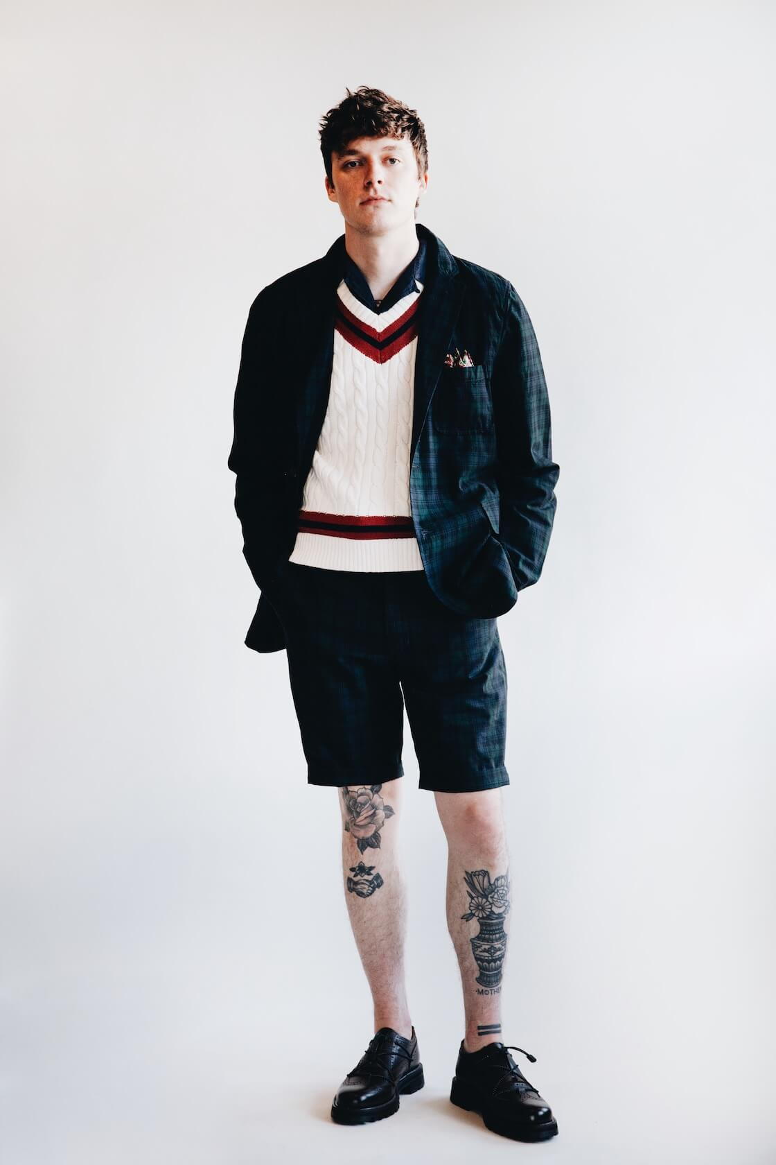 beams plus 3 button shirt jacket, beams plus cricket vest, beams plus ivy shorts and hender scheme code tip shoes on body